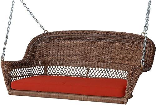 51.5 Hand Woven Honey Brown Resin Wicker Outdoor Porch Swing