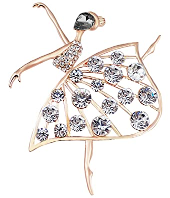 FENGJI Ballet Angel Girl Cubic Rhinestone Decoration Brooch Pin for Sweater Coat (Multicolor,White,Black)