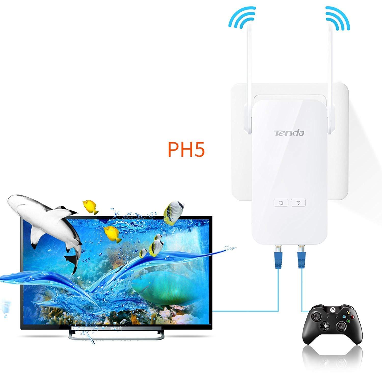 Tenda AV1000 Powerline Wi-Fi Extender Kit with 2 Gigabit Ethernet Ports/WiFi Clone/Home Plug AV2/Powerline 1000Mbps+WiFi 300Mbps (Ph5), White by Tenda