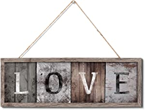 """Vintage Wood Wall Art Sign Board """"Love"""" Rustic Slat Hanging Framed Wall Decorations,Home Wall Decor Gift for Living Room Bedroom Weeding Farmhouse Entryway Sign Gift 16 x 5.5inch"""