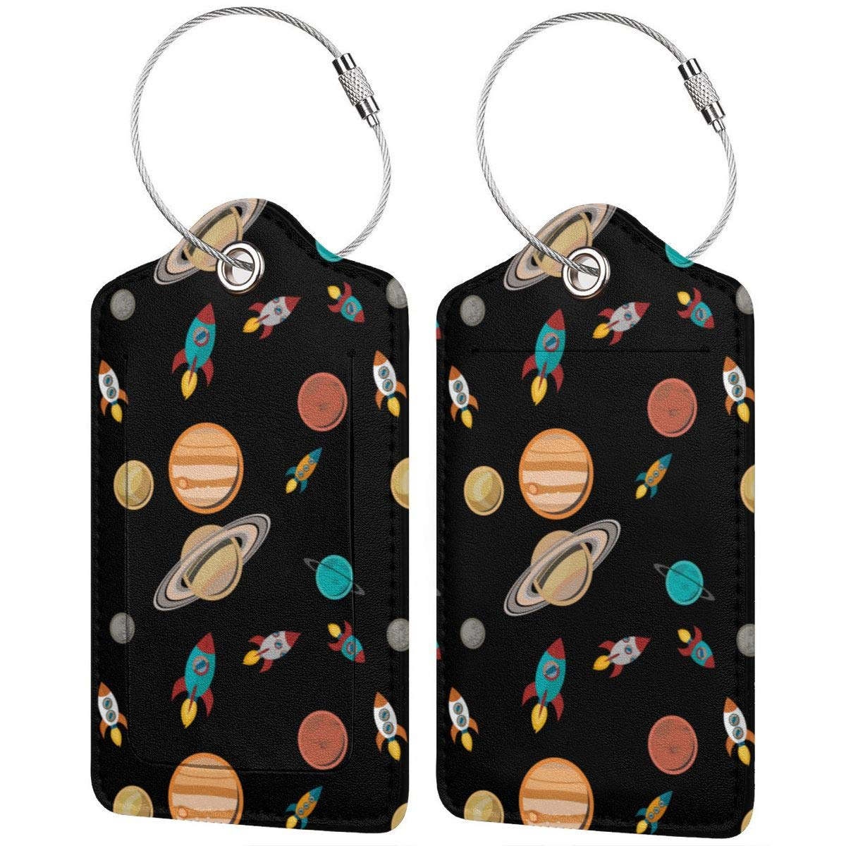 GoldK Space Planet Leather Luggage Tags Baggage Bag Instrument Tag Travel Labels Accessories with Privacy Cover