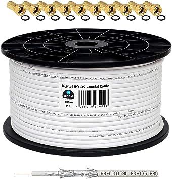 130 db 100 m Cable Coaxial SAT HQ-135 PRO 4 x escudada para DVB-S ...