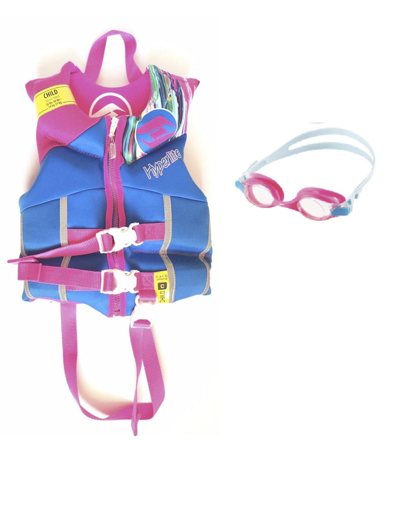 2016 Hyperlite Girls Girlz Kids Pink Blue Child Life Vest Jacket Wakeboarding Fishing Boating Swimming- 30-45lbs + Bonus Speedo Goggles