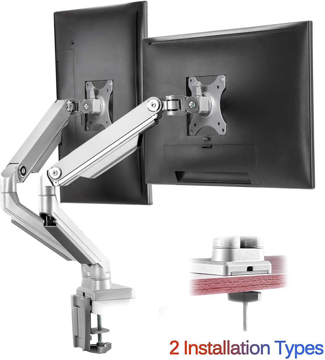 """IMtKotW Dual Arm Monitor Stand - Height Adjustable Full Motion Mechanical Spring Monitor Desk Mount with C Clamp/Grommet Base Fits 17""""-32"""" LCD LED Computer Screen up to 17.6 lbs per"""