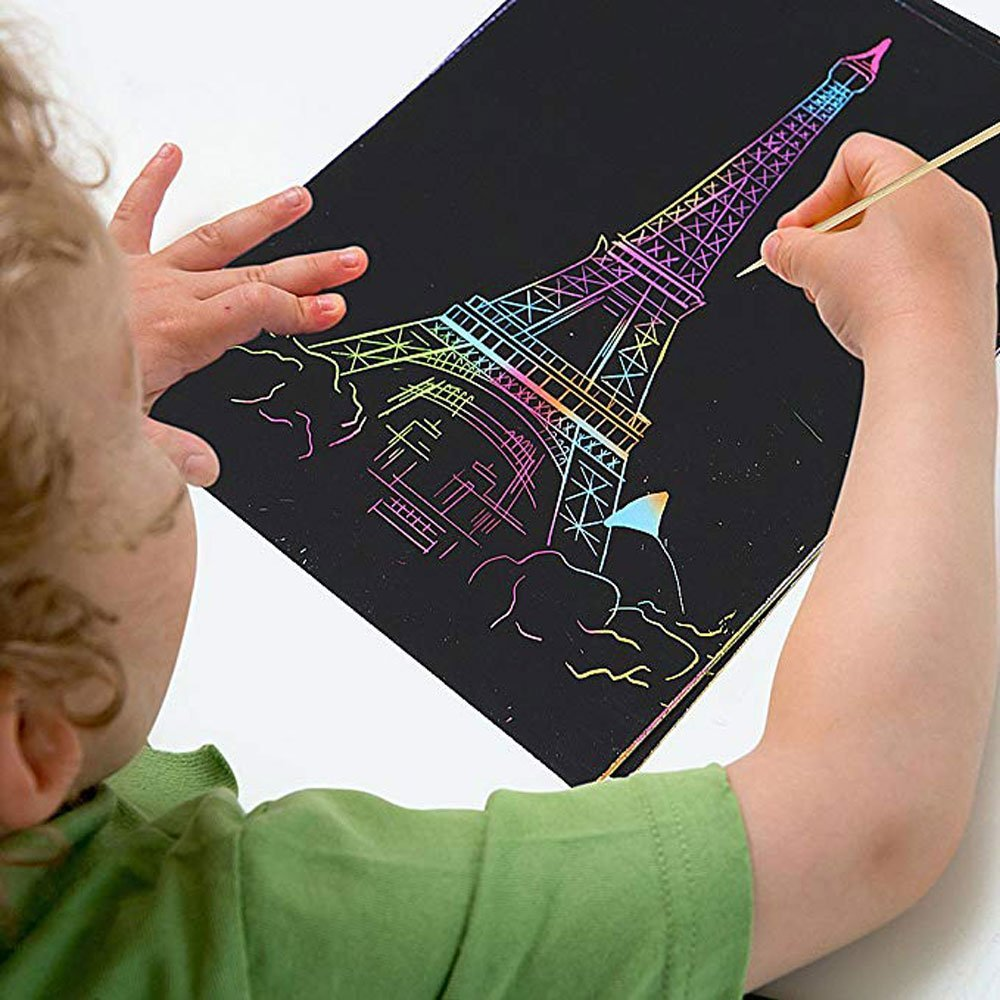 Scratch Art Rainbow, Scratch and Sketch Art Papers Magic Painting Papers with Wooden Stylus & Rulers Stylus Makes Art Fun for Kids, 62 PCS