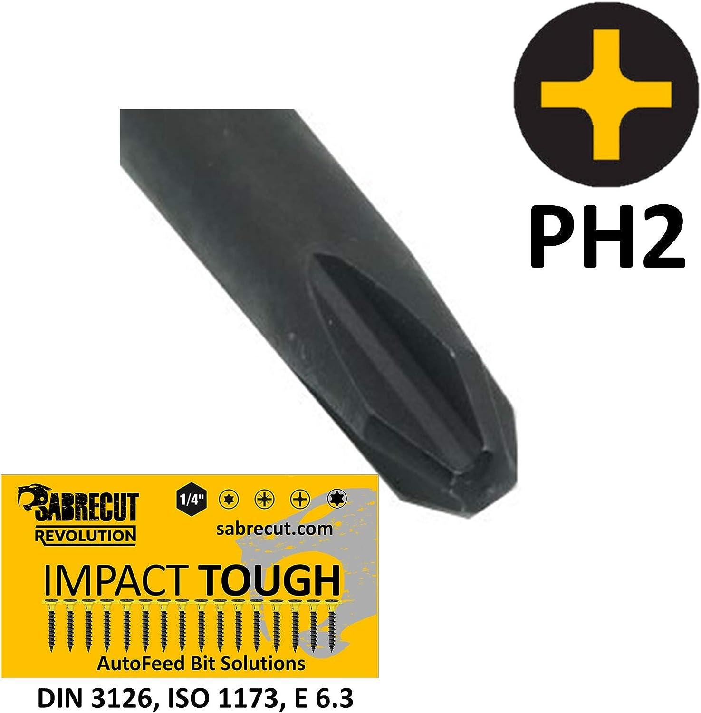 SabreCut SC130PH2/_3 130 mm PH2 compatible con SENCO DuraSpin DS200 DS202 DS202-14v DS205 EA0122 y TYREX D404-14V autoacoplado destornillador de yeso Phillips No.2 Heavy Duty