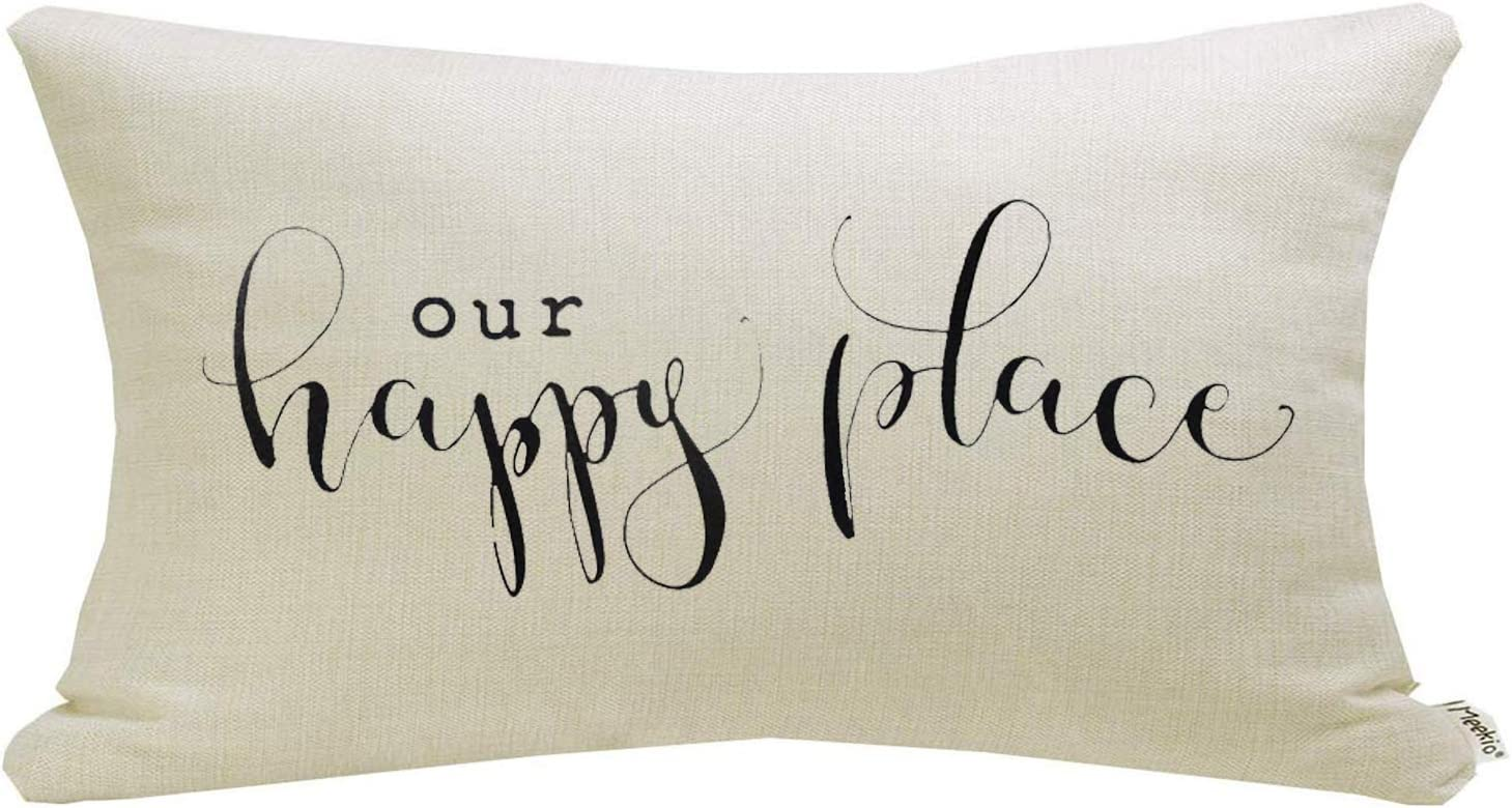 "Meekio Farmhouse Pillow Covers with Our Happy Place Quote 12"" x 20"" Farmhouse Rustic Décor Lumbar Pillow Covers with Saying Housewarming Gifts Family Room Décor"