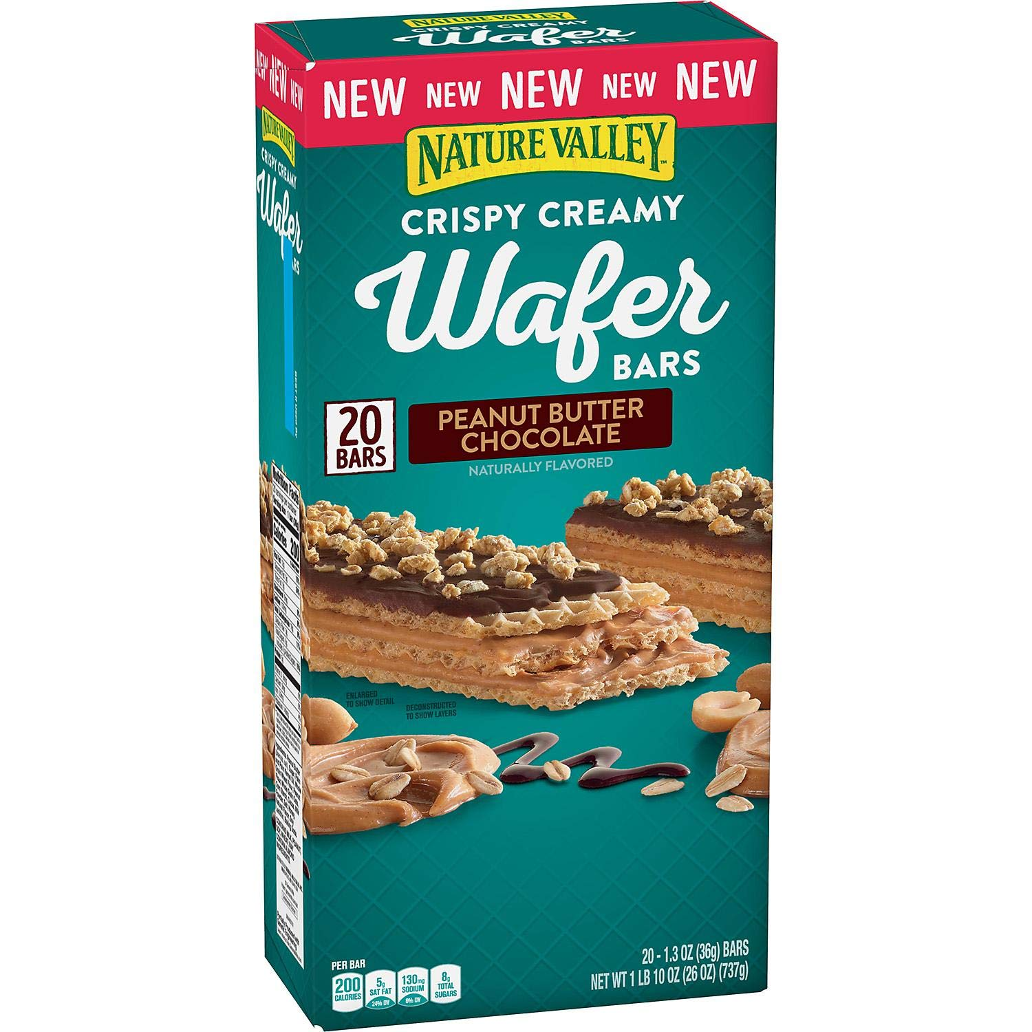 Nature Valley Nature Valley Crispy Creamy Wafer Bars Peanut Butter Chocolate 20 X 1.3 OunceNet Wt 26 Ounce , 26 Ounce
