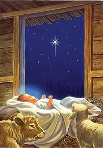 Toland Home Garden Baby Jesus 28 x 40 Inch Decorative Christmas Nativity Jesus Birth Stable House Flag - 101243