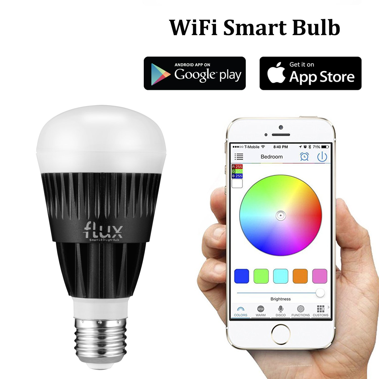 Flux WiFi Smart LED Light Bulb - Compatible with Alexa, Google Home  Assistant & IFTTT - Smartphone Controlled Color Changing Lights - Sunrise  Wake Up Light ...