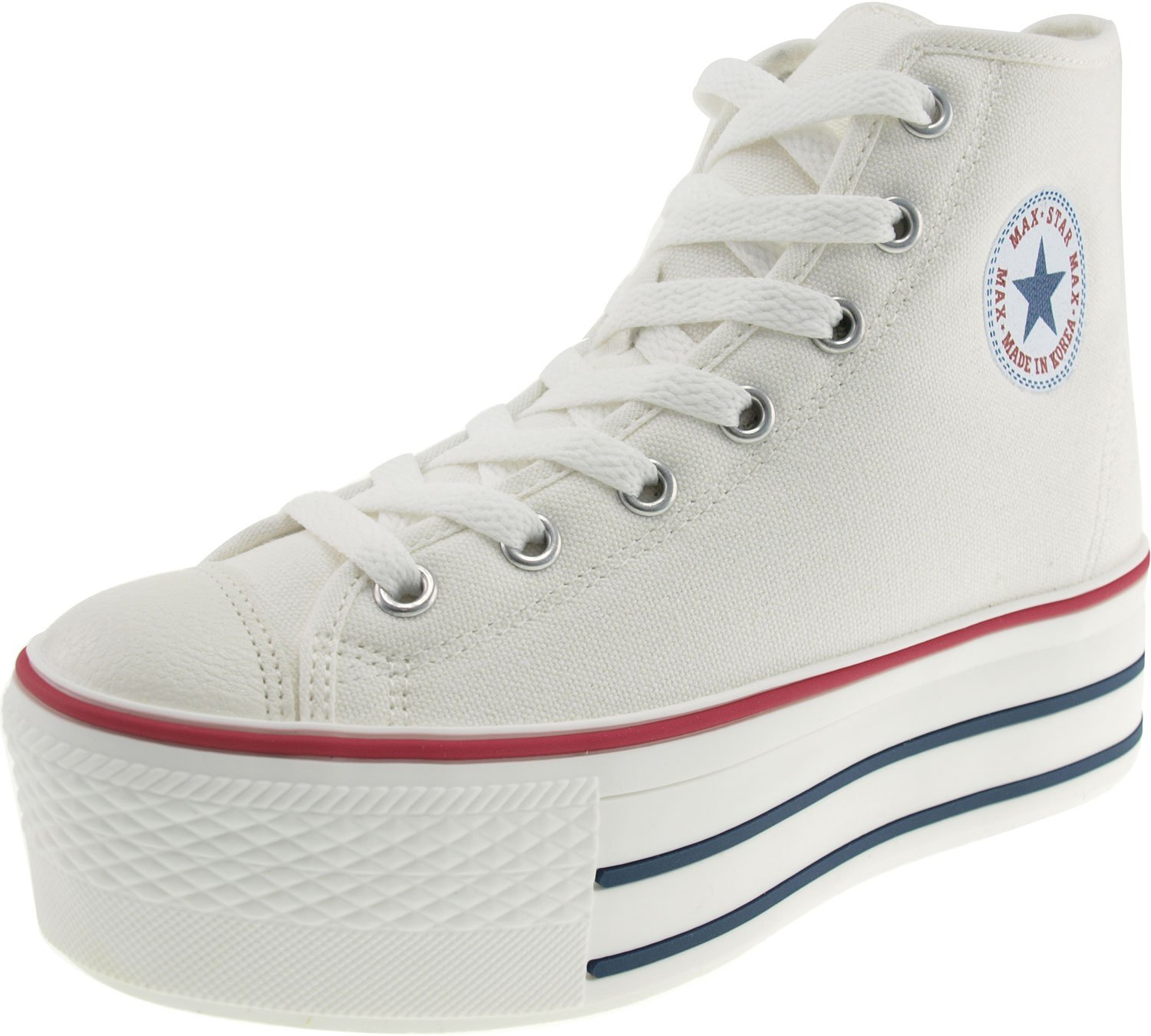 Maxstar Women's C50 7 Holes Zipper Platform Canvas High Top Sneakers B00CHVUUG4 8.5 B(M) US|White