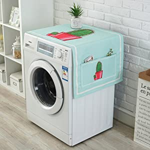 """LANGUGU Fridge Dust Cover Kitchen Decor, Universal Sunscreen Cover with Storage Bag for Refrigerator and Washing Machine,Country Style Cactus Flowerpot Decor,21"""" X 55"""" (07-2)"""