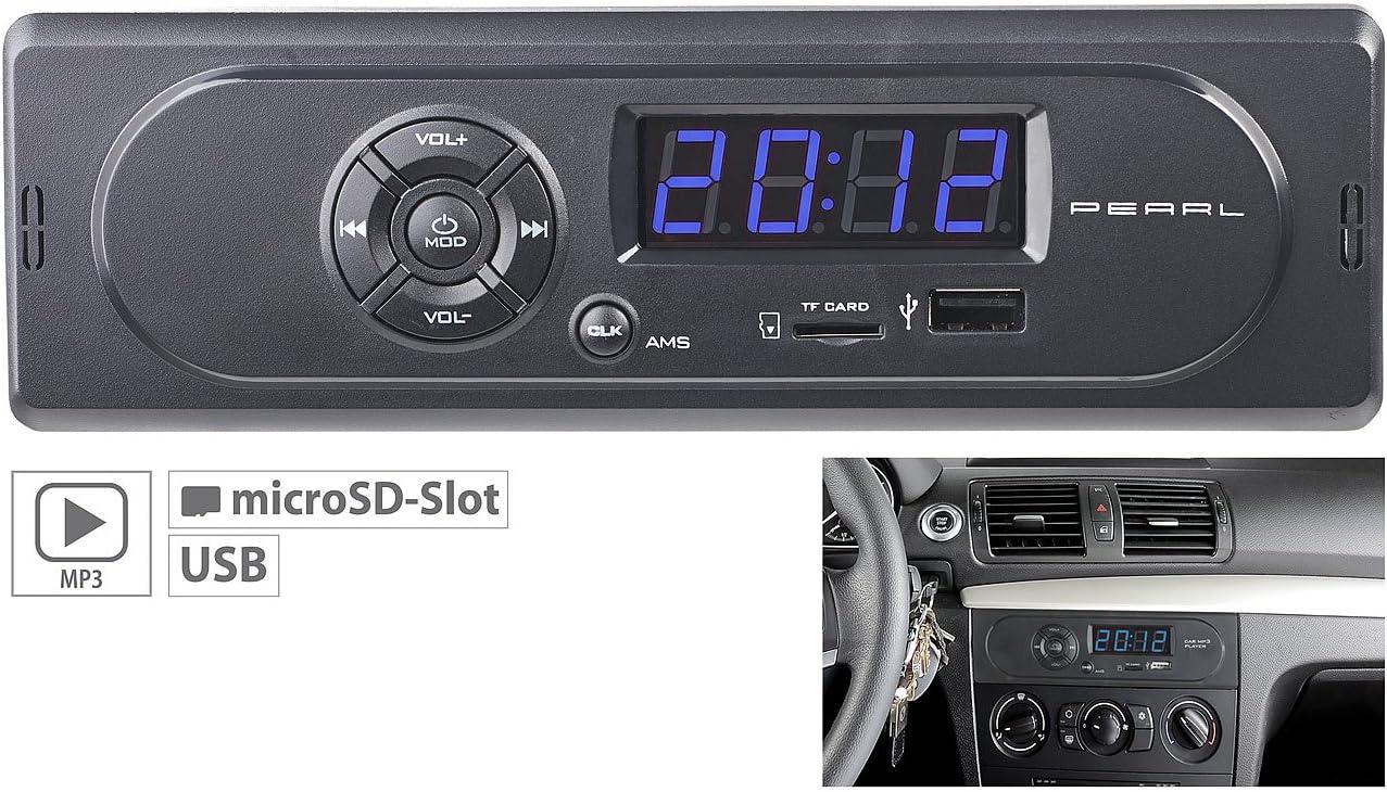 Szfree Autoradio Bluetooth st/ér/éo MP3 avec Haut-Parleur FM int/égr/é au Tableau de Bord 1 DIN Entr/ée AUX R/écepteur SD USB Autoradio 12 V