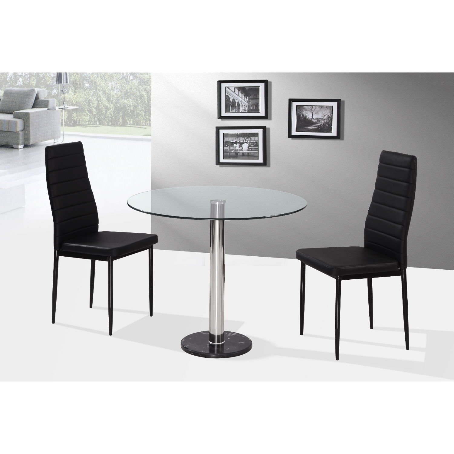 Gloss dining set table and 2 chairs black by lloyd phillip amp delric - Romford 90cm Round Glass Dining Table With 2 Chairs In Black Two Person Dining Set 2 Dining Chairs Amazon Co Uk Kitchen Home
