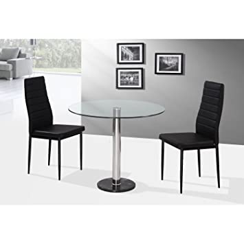 Romford 90cm Round Glass Dining Table With 2 Chairs In Black   Two Person  Dining Set