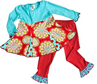 product image for Cheeky Banana Little Girls Swing Top & Ruffle Leggings Red and Turquoise Dots