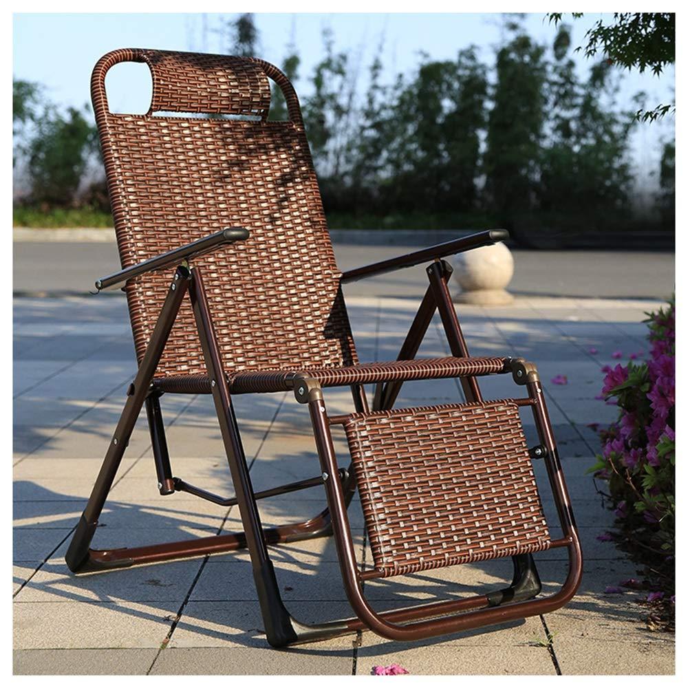PPWAN - ラウンジチェア 折りたたみ昼休み杖椅子バルコニー椅子バック怠惰なリクライニング籐サマーチェア - 7810 B07T2GCCJ4