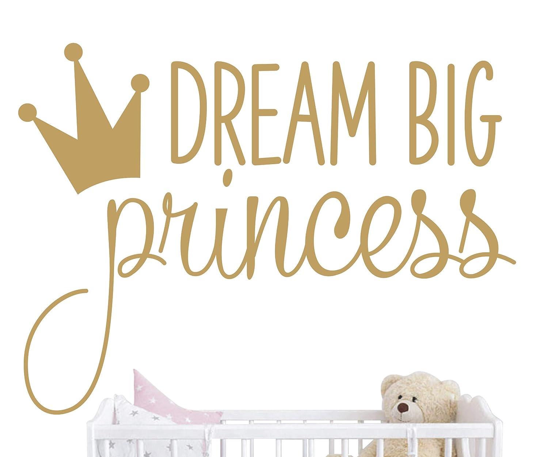 JOYRESIDE Dream Big Princess with Crown Wall Decal Vinyl Sticker for Kids Baby Girls Bedroom Decoration Nursery Home Decor Mural Design YMX18 (Gold) JURUOXIN