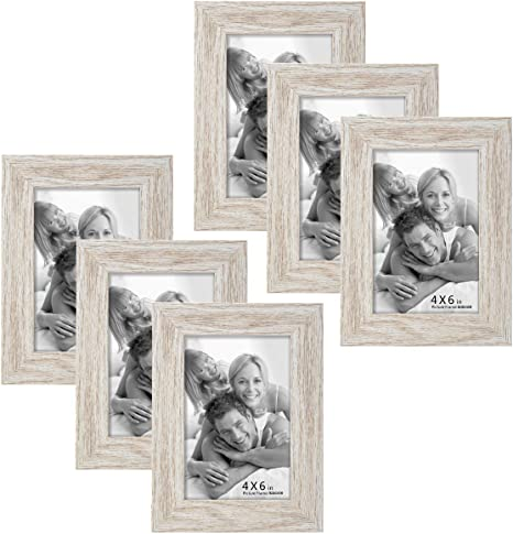 BOICHEN 6 Pack 4x6 Picture Frame Wood Pattern High Definition Glass Tabletop or Wall,White Woodgrain Photo Frames