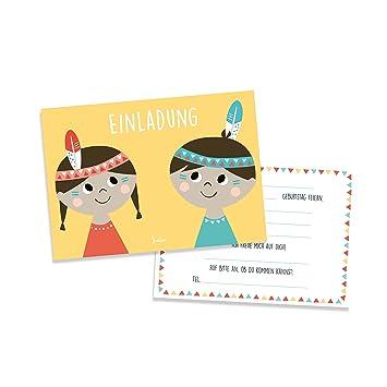 Julica Einladungskarte Kindergeburtstag | Indianer Motiv | Einladung Zu  Geburtstag | Jungen U0026 Mädchen