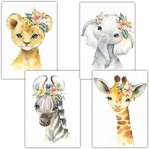Zauberhafte Wald-Tiere 6er Kinderzimmerbilder Set A3 Poster Kinderzimmer Deko Junge M/ädchen DIN A3 ohne Rahmen LALELU-Prints Bilder Babyzimmer