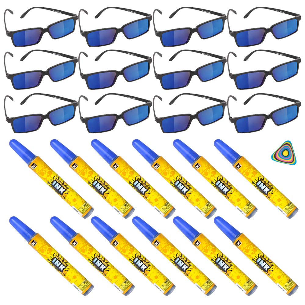 Shop Zoombie 24 PC Spy Secret Agent Party Supplies Party Favor - 12 Spy Glasses, 12 Disappearing Ink, and 1 Triangle Eraser - Detective, Prizes, Treasure Box by P T S