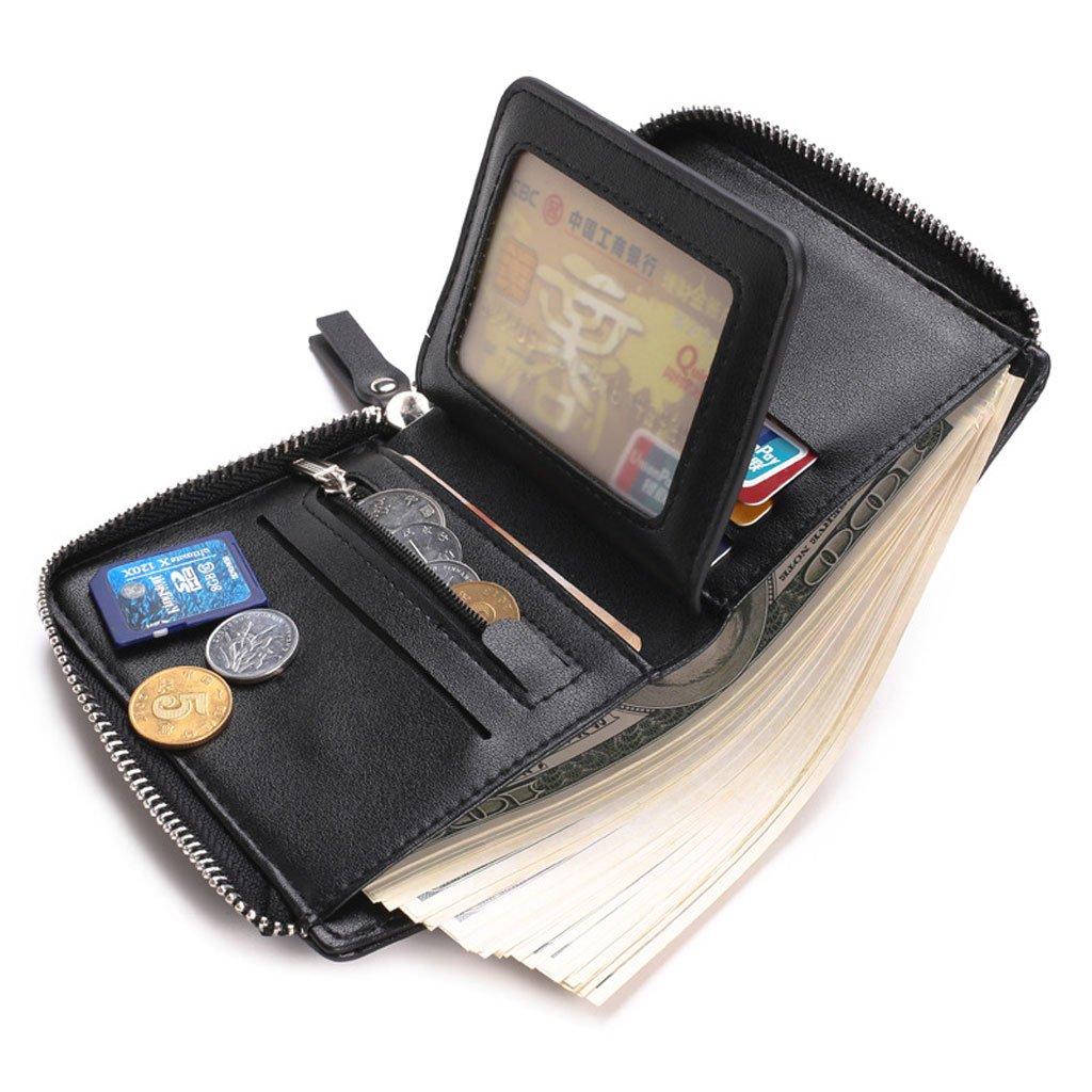 Farbe : Schwarz Y-LJ Geldb/örsen m/änner Herrenportemonnaie mit hoher Kapazit/ät mit Rei/ßverschlusstasche und Kartenhalter
