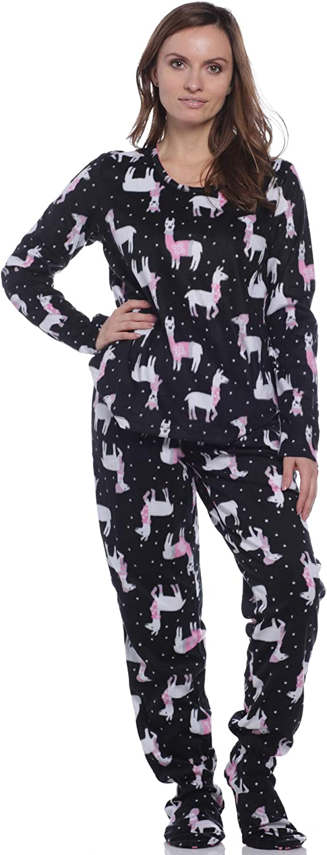 Pillow Talk Women/'s Fleece Cats Gray Fleece Footed Pajamas Two-piece