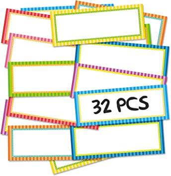 Magnetic Dry Erase Labels Name Plates White Board 32 Labels 8 Colors,3.2 x1.2