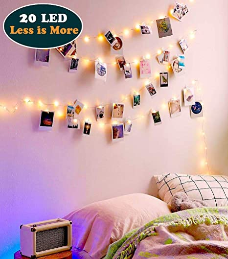 Ezdc 20 Christmas Led Photo Clip String Lights Bedroom Fairy Lights With Clips For Dorm Room Or Bedroom Decoration To Hang Cards Polaroids