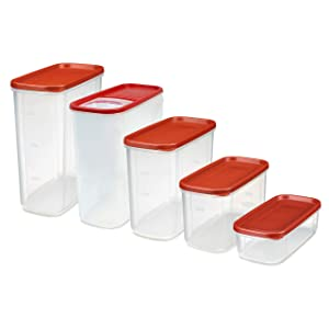 Rubbermaid 2108375 Modular Premium Food Storage Containers with Lids, 10 Piece Set, Clear