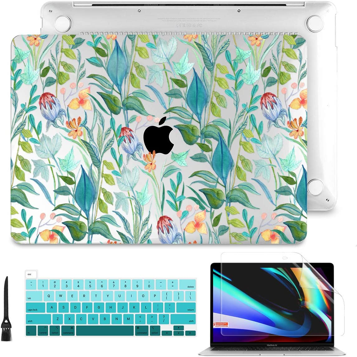 """Batianda Laptop Case for MacBook Pro 13"""" 2020 Rlease Plastice Hard Shell Cover with Keyboard Cover and Screen Protector Model A2289/A2251,Green Plant"""