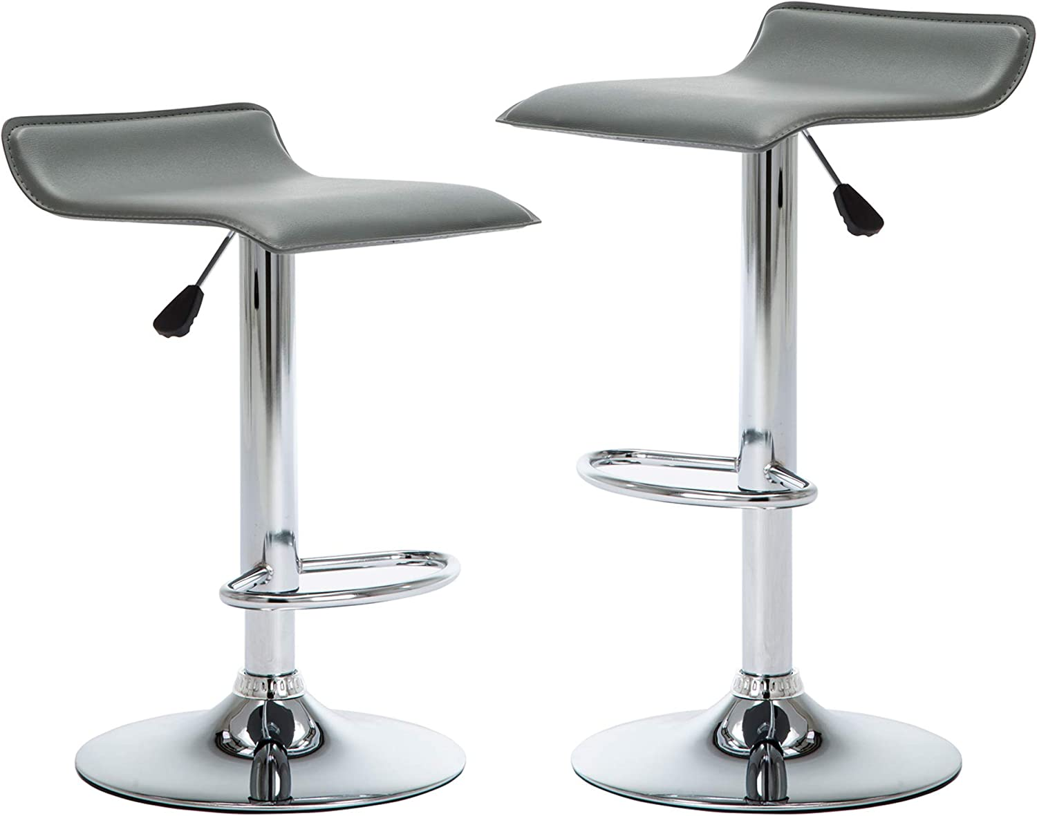 NOBPEINT Contemporary Chrome Air Lift Adjustable Swivel Bar Stool, Set of 2, Gray