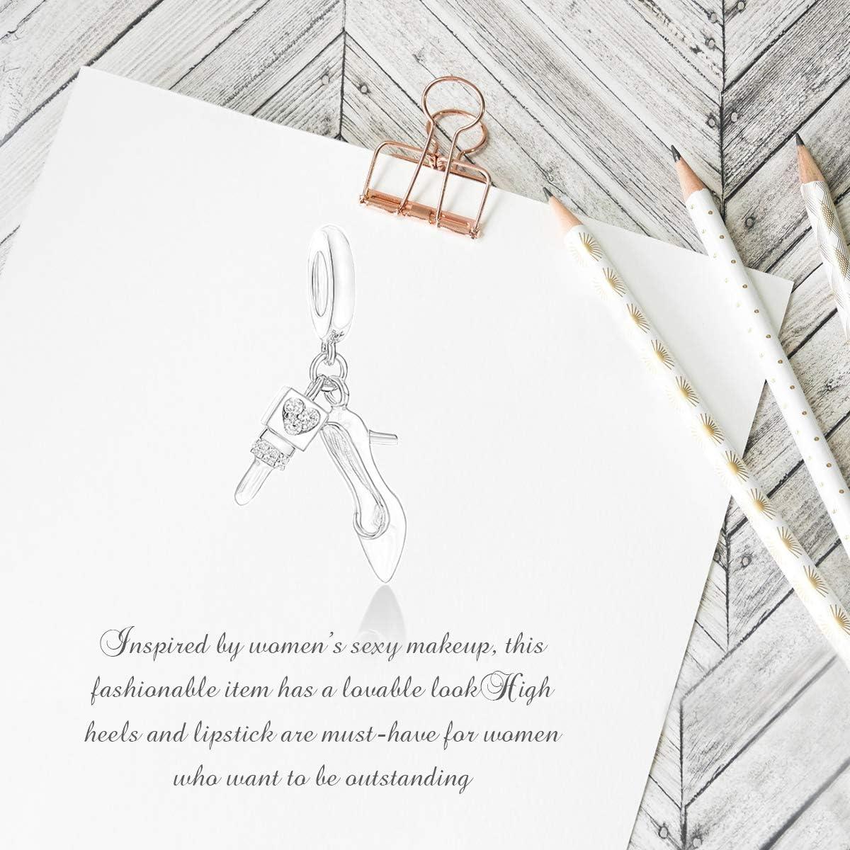 Forever Queen Abalorio de tal/ón alto y barra de labios para pulsera de plata de ley 925 con caja de regalo