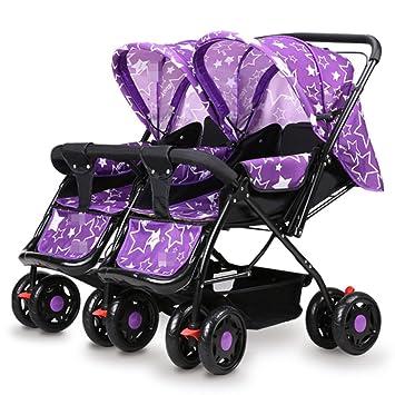 ZHXUANXUAN Mellizos Baby Trolley Ligero Amortiguador El Bebé Puede Sentarse Y Plegar Al Niño Doble Bidireccional Baby Cartiage,Purple-OneSize: Amazon.es: ...