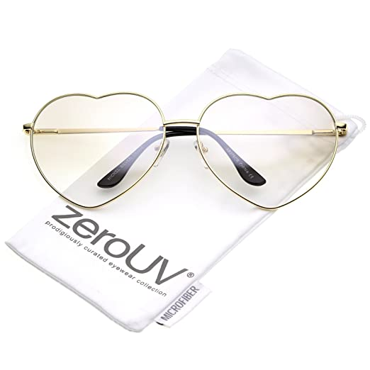 a8dac6185325 zeroUV - Oversize Thin Metal Arms Colored Lens Heart Sunglasses 70mm (Gold/ Clear)