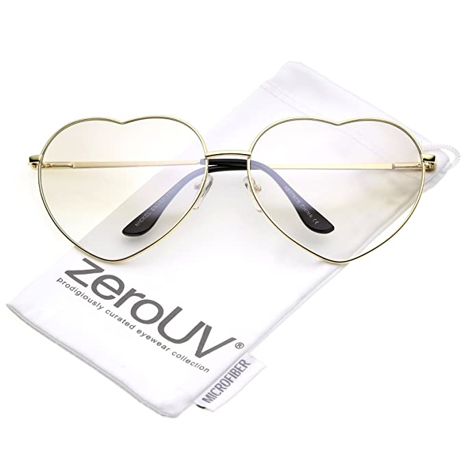 342615092f Amazon.com  zeroUV - Oversize Thin Metal Arms Colored Lens Heart Sunglasses  70mm (Gold Clear)  Clothing