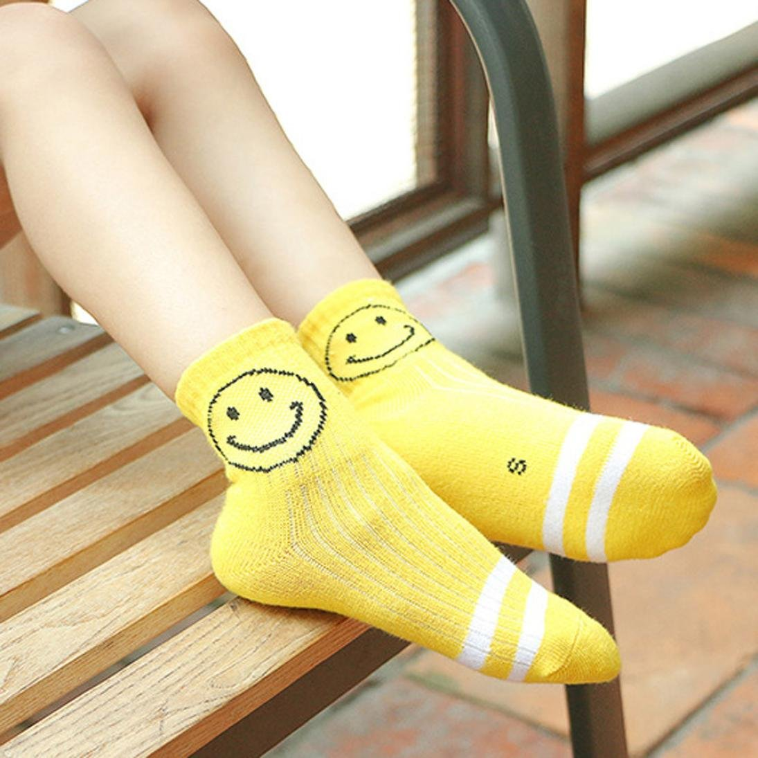 Iuhan 5 Pairs Smile Face Baby Boys Girls Knitting Cotton Infant Children Kids Socks