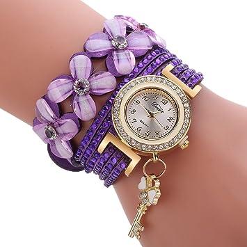 NICERIO Reloj de Pulsera de Mujer, Reloj de Cuarzo de Lujo de Moda Relojes Informales con Llave de Colgante y decoración de Cristal, (púrpura): Amazon.es: ...