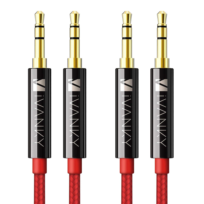 Câble Jack 3.5mm [1.2m / Lot de 2] iVanky - Garantie à Vie/Qualité Sonore HiFi - Câble Auxiliaire Audio Stéréo 3.5 Mâle Mâle pour iPhone, iPod, iPad, Voiture, Casque, MP3, Samsung, Sony et plus - Noir