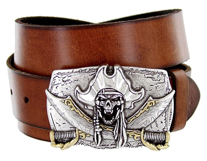 Men's Pirate Jolly Roger Buckle Tan Leather Belt