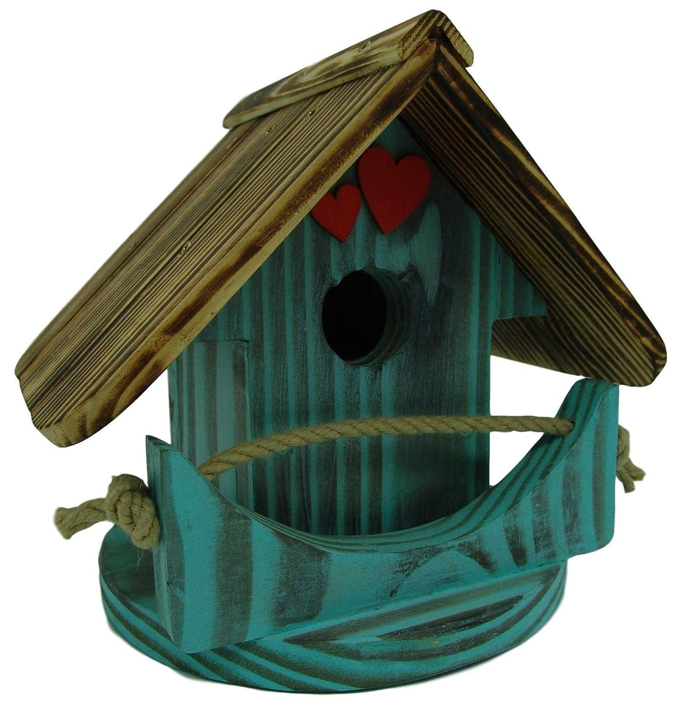 Nichoir à oiseaux,Maison à oiseaux PRODUIT FRANCAIS, 23 cm haut, turqois brossé, Villa à oiseaux pour jardins colorés, fait avec du bois massif Douglas et pin, tout est vissé, lasuré 3-fois avec lasure acrylique. Nous sommes membre de la chambre d\'artisana