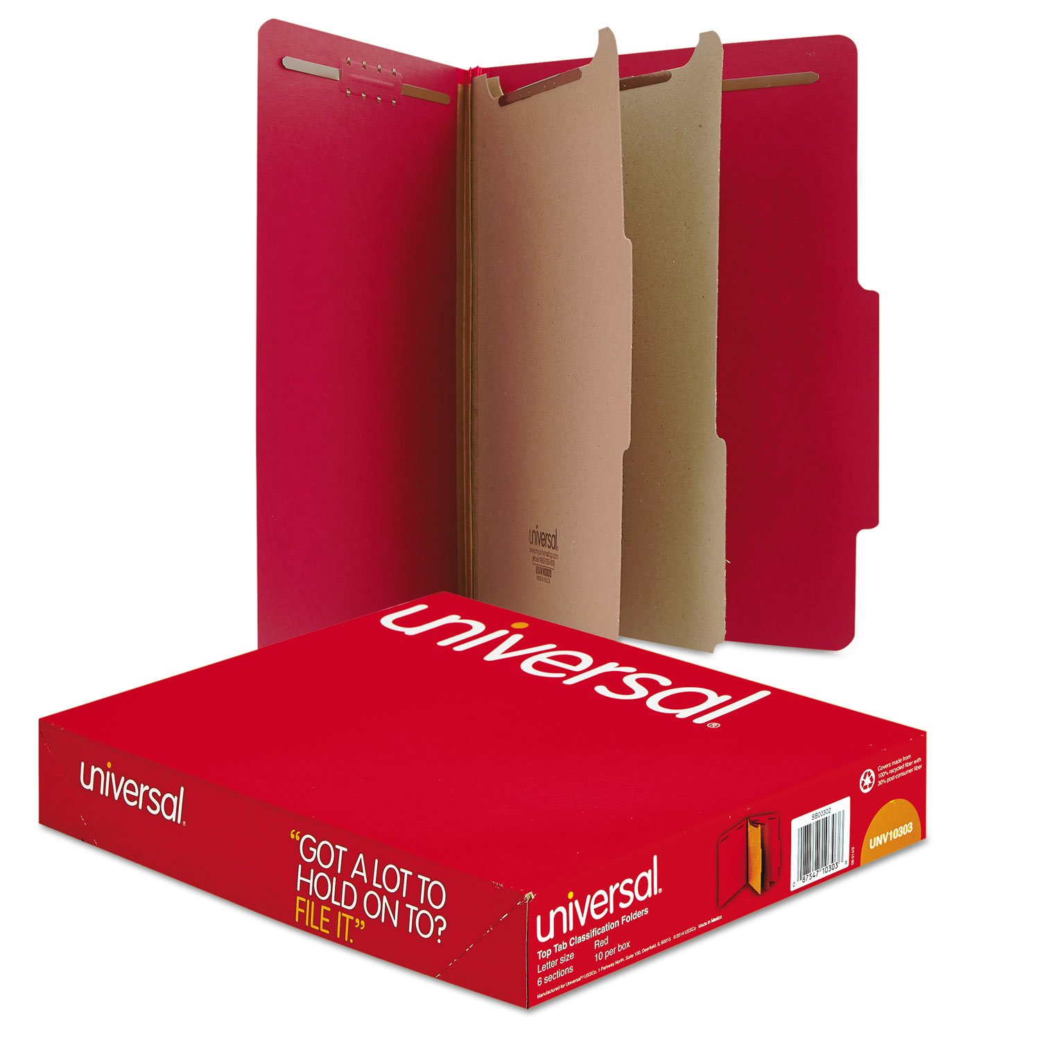 Universal - Pressboard Classification Folders, Letter, 6-Section, Ruby Red, 10/bx by Universal