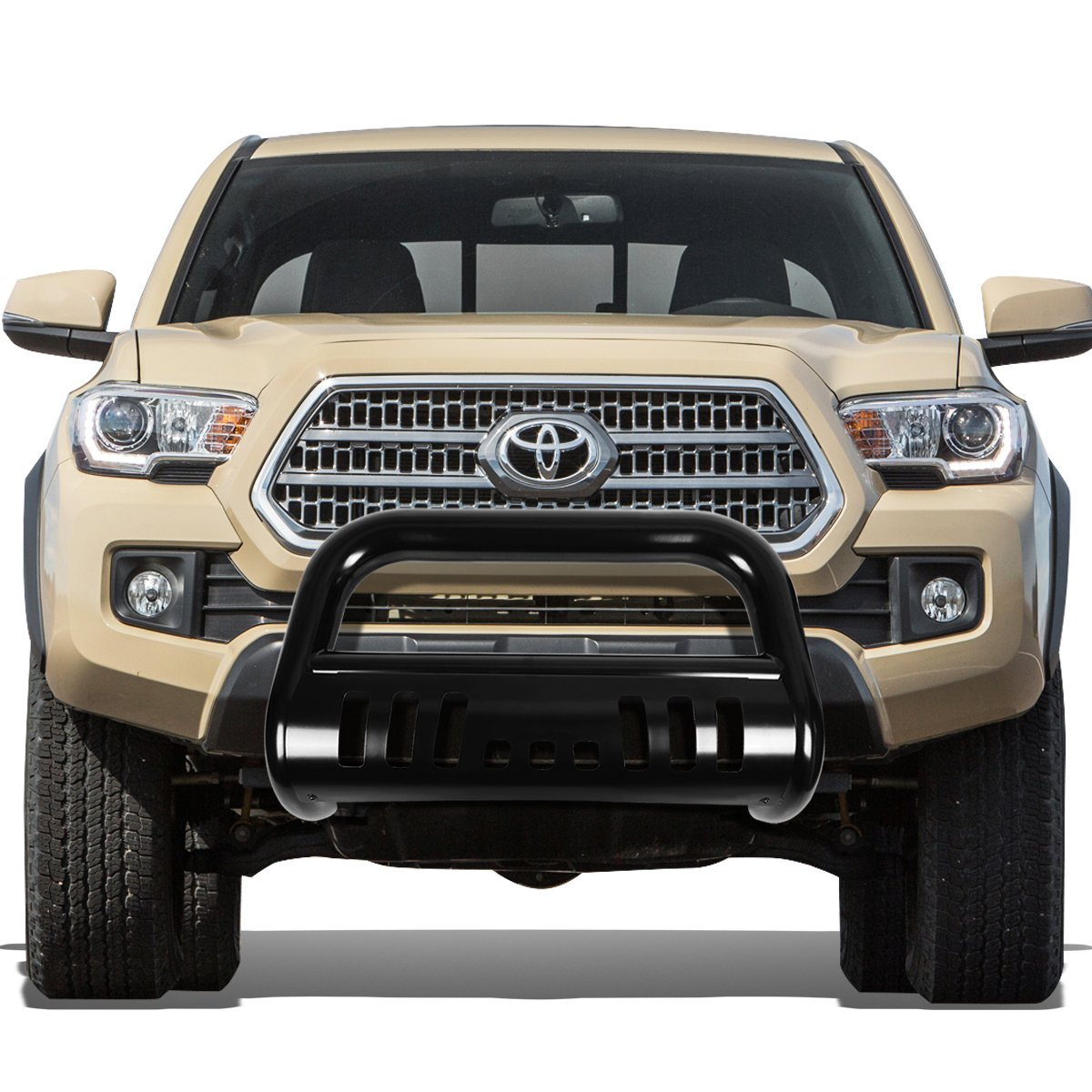 Black For Tacoma 3 inches Bumper Push Bull Bar+Removable Skid Plate