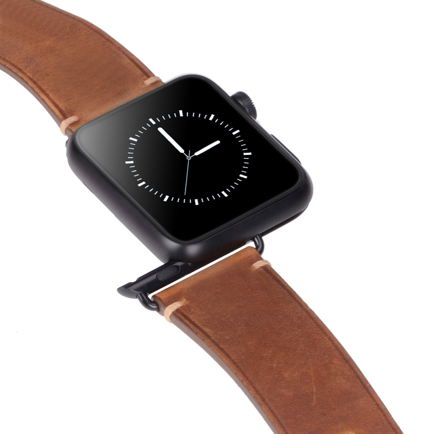 For 42mm Apple Watch Band, Genuine Leather iWatch Strap with Black Metal Clasp Buckle for Apple Watch Series 3 Series 2 Series 1 Sport Edition (42mm Dark Brown) by AMMZO (Image #6)