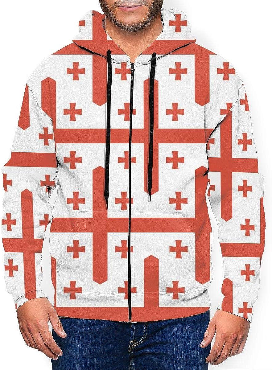 Georgia Flag Men's Full Zip Up Hooded Sweatshirt Hoodie