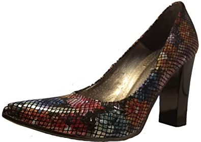 3-W-Hohenlimburg Mode-Hit: Bunte Blumen Stiletto Pumps High Heels in Regenbogenfarben Damenschuhe PHH122 Schuh