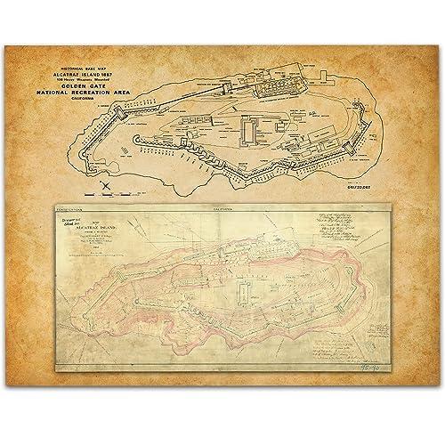 Amazon Com 1867 Alcatraz Island Map Art Print 11x14 Unframed Art
