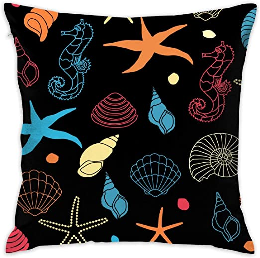 shizh Seahorse Stars Conch Decor Throw Pillow Cover ...