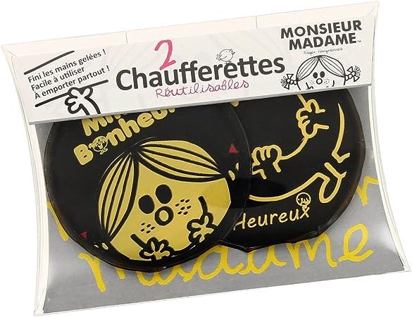 Lot 2 Mini Bouillotte Chaufferette Poche Monsieur Madame Bonheur